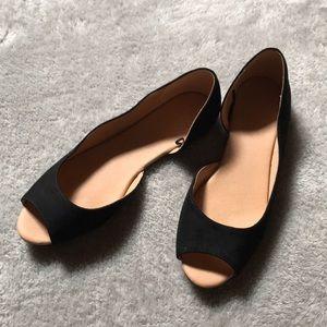 H&M Black Faux Suede Peep Toe Flats